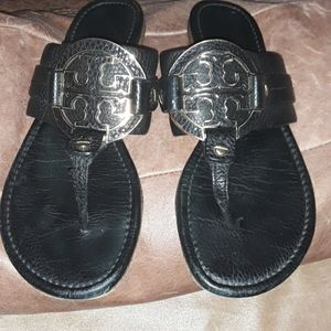 Tory Burch Black Amanda Thong Sandals
